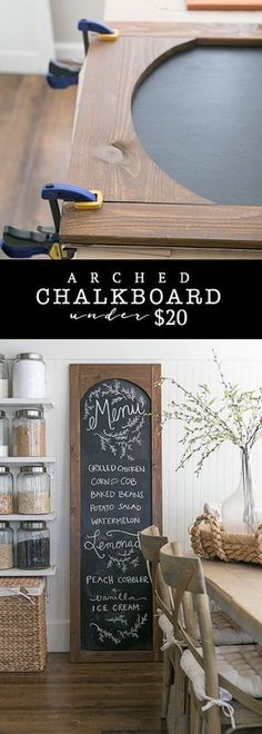 Easy 6 foot DIY arched chalkboard for under 20 Perfect for your kitchen command center office or entryway Diy Craft Projects, Home Projects, Project Ideas, Diy Wood Crafts, Easy Crafts, Easy Home Decor, Handmade Home Decor, Handmade Crafts, Diy Simple