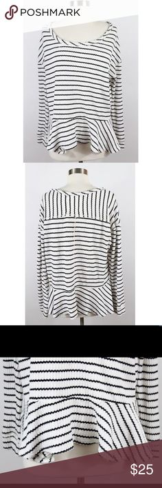 We The Free Medium Free People Striped Peplum Top We The Free Medium Free People Black White Stripe Thermal Top Shirt Blouse Size M Nice used condition Bust: 23 Length: 24 Free People Tops
