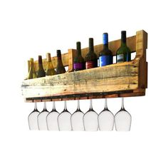 Rustic Pallet Wine Rack with 8 Wine Glass by PistolPetesSurvival, $75.00