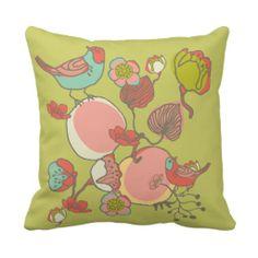 Birds, Flowers, and Fruit Pillow
