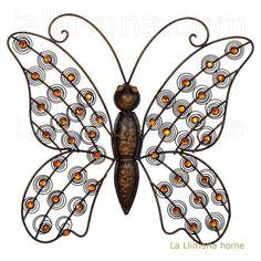 Mariposa de hierro con brillantes naranjas en las alas para colgar. http://www.lallimona.com/online/hogar/