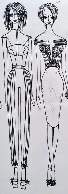 My Illustration #TopshopPromQueen Part of my PLEATS Collection, both are formal attire.