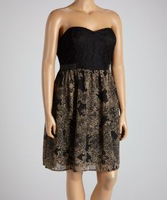 041e9d57ed9 Another great find on  zulily! Black  amp  Taupe Abstract Strapless Dress -  Plus