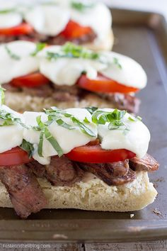 Delicious Summer Open Face Caprese Steak Sandwich | Taste and Tell