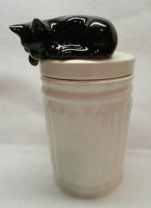 jar lid images, cat | Very Cute Black Cat on Trash Can Ceramic Treat Jar ... | Ceramics ide ...