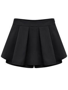 Falda-pantalón gasa plisada tiro medio-Negro EUR15.87