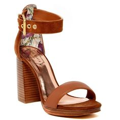 36a13b9a509 Ted Baker London Lorno Leather Block Heel Sandal ( 100) ❤ liked on Polyvore  featuring shoes
