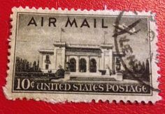 1946-7 US Air Mail Stamp, 10 Cents, Airplane, Aviation, Pan-Am Building