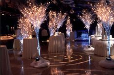 Greenscape Design Wedding Decor - Crystal Birch Martini Trees and White Cocktail Tables