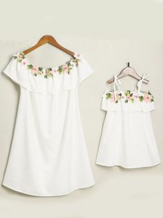 dcd0097bcc1 MOMMY AND ME FLOUNCED FLOWER APPLIQUE DRESS Girl Sizes 3T To 9 Mom Medium  to XXLarge