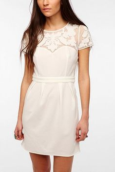 Pins And Needles Embroidered Mesh Crepe Dress - Urban Outfitters