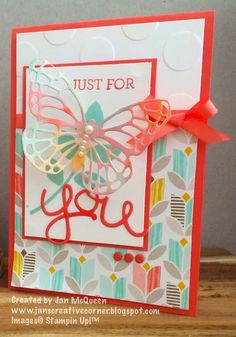Jan's Bokeh Butterfly card: Crazy for You, Best Year Ever dsp & ribbon (SAB), Butterflies Thinlits, Hello You Thinlits, & more. All supplies from Stampin' Up!