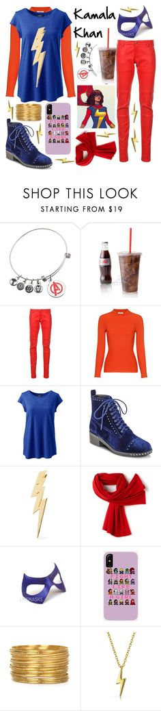 """""""ms. marvel"""" by crimson-quartz ❤ liked on Polyvore featuring Marvel, Alexandre Vauthier, Ganni, Lands' End, Marc Fisher LTD, Jennifer Fisher, Lacoste, Bling Jewelry and plus size clothing"""