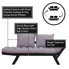 Shop Single Person 3 Position Convertible Couch Chaise Lounger Sofa Bed - Overstock - 22310413 Ottoman Bed, Sofa Couch Bed, Couches, Sofas, Sofa Bed Black, Bed Dimensions, Grey Cushions, Large Pillows, Comfortable Sofa