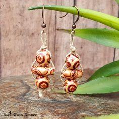 Wooden Bead Hemp Dangle Earrings - Painted Wood Beads - Earth Tones - Natural Hemp Cord - Eco Friendly - Bohemian Jewelry - Boho  - Handmade by RavenGwenDesigns on Etsy