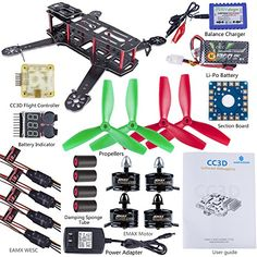 SunFounder 250mm FPV Quadcopter Drone Frame Kit CC3D Controller EMAX ESC Simon 12A Motor MT2204 2300KV 11.1V Li-po Battery Glass Fiber Racing Flying 4-Axis CW/ CCW Propellers Balance Charger for Lumenier QAV250 ZMR250