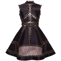 Hussein Bazaza Perforated Embellished A-Line Short Dress (39.817.475 IDR) ❤ liked on Polyvore featuring dresses, vestidos, sleeveless a line dress, embellished cocktail dress, a line mini dress, silk dress and sleeveless dress