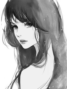 Anime girl, crying, tears, black and white, pretty