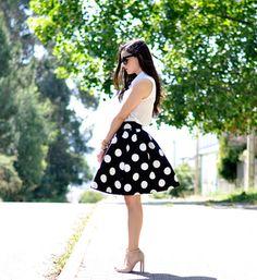 Black Polka Dot Flare Skirt - Sheinside.com