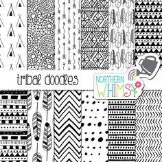 Tribal Digital papel - mano doodle dibuja los patrones tribales y plumas en…
