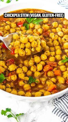 Soup Recipes, Vegetarian Recipes, Dinner Recipes, Cooking Recipes, Healthy Recipes, Chickpea Recipes, Spicy Recipes, Vegan Dishes, Vegan Food