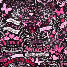 black and pink ribbon butterfly Timeless Treasures fabric  2