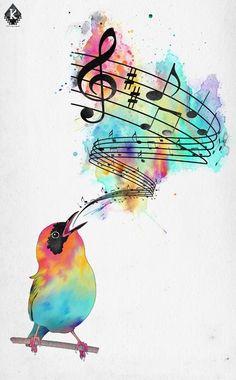 grafika music and bird Music Drawings, Music Artwork, Bird Drawings, Cool Art Drawings, Art Drawings Sketches, Watercolor Bird, Watercolor Paintings, Doodle Art, Music Notes Art