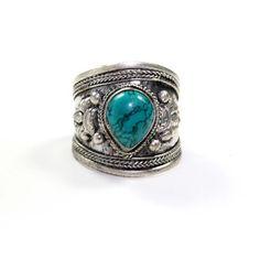 Turquoise Teardrop Tibetan Ring   VidaKush