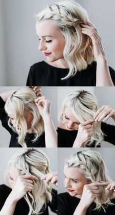 Make evening hairstyles yourself - 18 tips and tricks for effect .- Abendfrisuren selber machen – 18 Tipps und Tricks für effektvollen Look Make evening hairstyles yourself – 18 tips and tricks for an effective look - Evening Hairstyles, Side Hairstyles, Stylish Hairstyles, French Hairstyles, School Hairstyles, Natural Hairstyles, Braids For Short Hair, Short Hair Cuts, Short Hair Braids Tutorial
