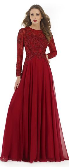 Stunning Tulle & Chiffon Jewel Neckline Long Sleeves A-line Mother Of The Bride Dresses With Beaded Lace Appliques