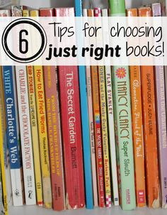 "Great tips for parents to help kids choose ""just right books.""  Most important perhaps is to let them try what they are dying to read.  Nothing kills motivation like denying a kid the books s/he really wants to read (even if they end up needing a little help--that's just a great chance for shared reading)."