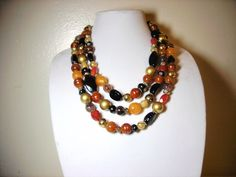 NWT Chico's Bead Necklace Three Strand Rust Brown Gold Black Peach Retail $59 #Chicos #StrandString