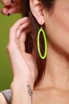 Neon Green Rhinestone Fish Hook Hoop Earrings