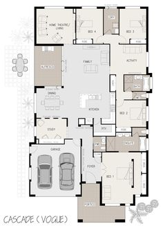 Split level at the theatre room (Michael's games room) and the two rear bedrooms change to parents retreat sunken. Activity becomes spare bedroom. Floor Plan 4 Bedroom, 4 Bedroom House Plans, Dream House Plans, House Floor Plans, Bedroom Layouts, House Layouts, Single Storey House Plans, Florida House Plans, Model House Plan
