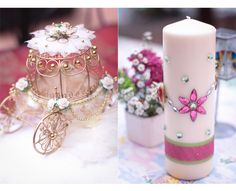 Pink and Green themed wedding with the carriage coin holder. Wedding Dreams, Dream Wedding, Pillar Candles, Big Day, Pink And Green, Wedding Inspiration, Wedding Photography, Table Decorations, City