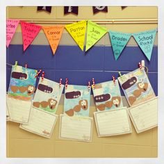 In love with this easy and  sweet rainbow bunting! Great thing to greet the kiddos with!