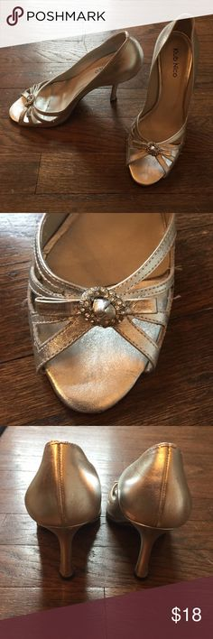 """Silver dress shoe Pretty silver dress show in good used condition. 4"""" heel Klub Nico Shoes Heels"""