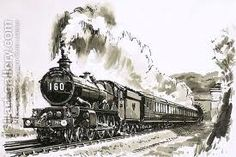 paintings of steam trains in fog - Google Search