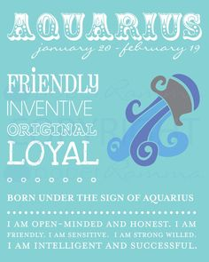 AQUARIUS Zodiac Nursery / Kids Room Art Print // 8 x by PaperRamma