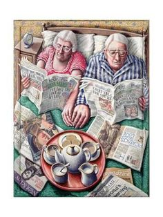 Sunday Morning Tea (Reading in Bed) Giclee Print at AllPosters by P. Vieux Couples, Good Books, My Books, Sunday Readings, Image Digital, Images Gif, Growing Old Together, The Golden Years, Reading In Bed