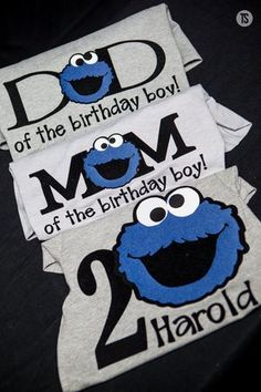 Cookie Monster Birthday Shirt Bundle Mom and Dad by rikirenee