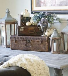 5 Minute Fall Decorating-Easy Vignettes | Decorating for fall does not happen all in one day at our home.  It is a slow transition with little sprinkles appearing here and there throughout the house.