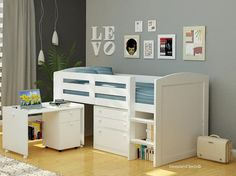 Chester White Midsleeper Beds - Childrens Chester Bed, Desk, Storage