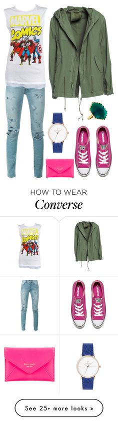 """""""Yellow Marvel"""" by staysaneinsideinsanity on Polyvore featuring Yves Saint Laurent, Marvel Comics, Mr & Mrs Italy, Converse, Kate Spade, Lana and summerbrights"""