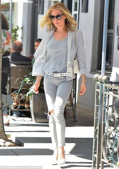 Shades of grey: Kristin Cavallari went for a monochromatic look when she stepped out for l...