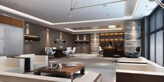 Contemporary office with various textures can increase the warmth of your office space