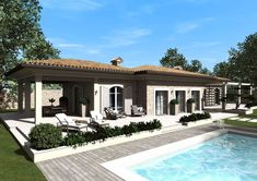 Eidomatica - rendering villa con piscina/villa with swimming pool exterior rendering