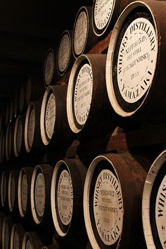 Whisky barrels in the warehouse, Suntory Yamazaki Distillery, Japan