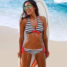 Only $0 - Awesome Low Waist Striped Summer Beach Sexy Bikinis Women Swimsuit Bikini Set Swimwear Bathing Suit S/M/L/XL Available Hot Sales - Buy it Now!