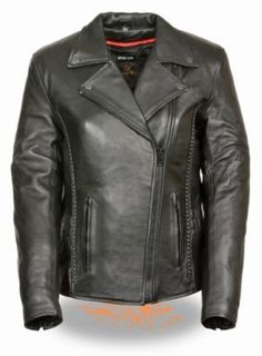 275eda2ff793f Milwaukee Black Hardware Braided Stud Womens Leather Motorcycle Jacket is  made of premium milled cowhide leather